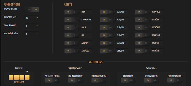 Binary Hedge Fund Automated Robot Settings